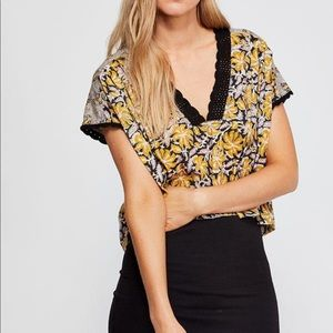Free People Leilani Yellow Floral Crop Crochet Top